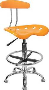 Vibrant Orange yellow And Chrome Drafting Stool With Tractor Seat
