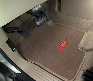 Chevy Bowtie Logo On Beige Custom Carpet Floor Mats Silverado Equinox Traverse