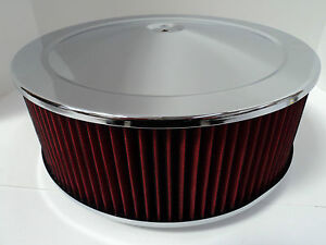 14 X 5 Round Chrome Washable Red Air Cleaner Flat Base Extreme Chevy Sbc 350