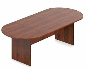 8 Ft Office Furniture Conference Boardroom Racetrack Table Dark Cherry Finish