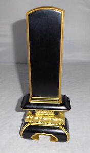 Rare Japanese Gold Wooden Buddhist Mortuary Tablet Ihai Butsudan Zen Lacquer God