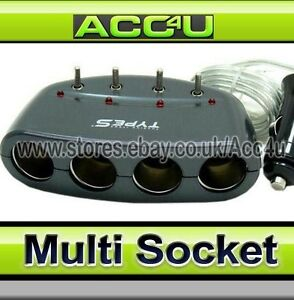 Type S Charcoal Car 12v 4 Way Switches Multi Socket Cigarette Lighter Adapter