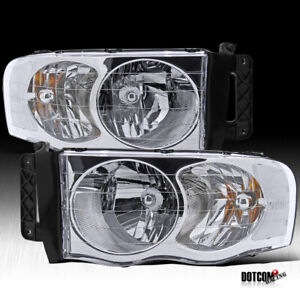 Fit 2002 2005 Dodge Ram 1500 2500 3500 Pickup Crystal Clear Head Lights Pair