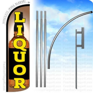 Liquor Windless Swooper Feather Flag 15 Kit Banner Sign Q