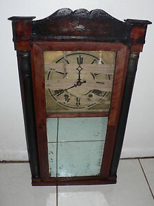 Antique Vintage 1800 S Samual Terry Clock W Wood Cabinet