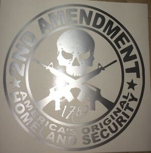 2nd Amendment Gun Vinyl Decal Sticker Truck Diesel Car Hunting Silver Funny