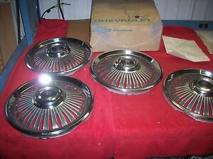 1966 Chevy Ii Nova Nos 14 Inch Full Wheel Cover Hub Caps In Gm Box Set Of 4
