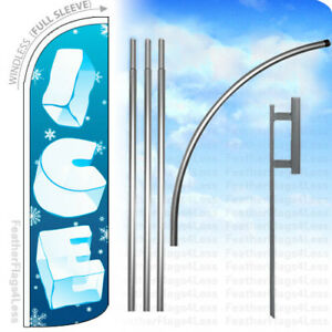 Ice Windless Swooper Flag Kit Feather Banner Sign Bq