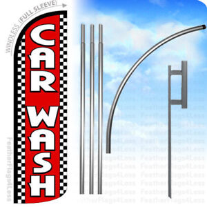 Car Wash Windless Swooper Flag Kit Feather Banner Sign Checkered Rq