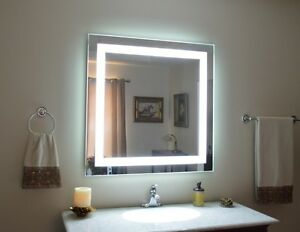 Front lighted Led Bathroom Vanity Mirror 40 X 40 Rectangular Wall mounted