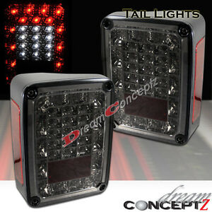 2007 2015 Jeep Wrangler Led Tail Lights Sport Rubicon Sahara Unlimited Smoke Len