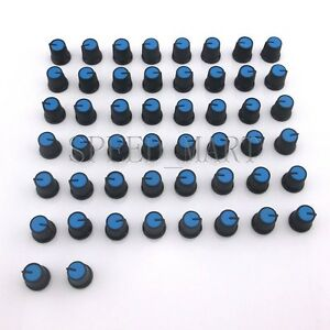 50pcs Black Knob Blue Face Rotary Switch Potentiometer Volume Pointer Hole 6mm