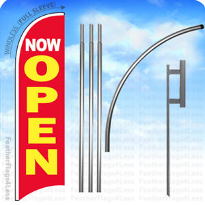Now Open Windless Swooper Flag Kit 15 Featherbanner Sign Rb