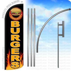 Burgers Windless Swooper Feather Full Sleeve Banner Sign Flag Kit Kq