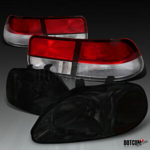 For Honda 1996 1998 Civic Coupe 2dr Smoke Lens Headlights Red Clear Tail Lamps
