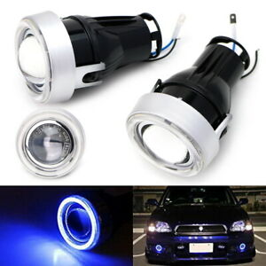 3 Projector Fog Light Lamps W Ultra Blue 40 led Halo Angel Eyes Rings For Car