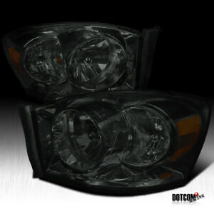 For 2006 2008 Dodge Ram 1500 2500 3500 Smoke Lens Headlights Tinted Head Pair
