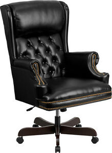 High Back Traditional Tufted Black Leather Executive Office Chair
