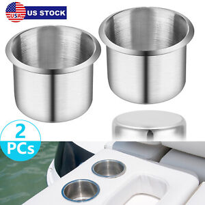 2x Stainless Steel Cup Drink Holders For Marine Boat Car Truck Camper Rv Bravo