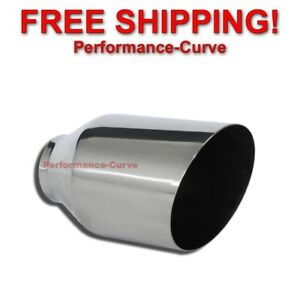 Stainless Steel Exhaust Tip Round Slant 2 25 Inlet 4 Outlet 7 Long