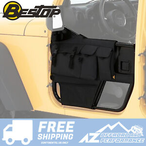 Bestop Front Door Storage Bags Black Diamond For 76 06 Jeep Cj7 Cj8