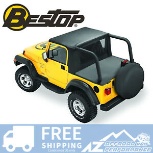 Bestop Halftop 97 02 Jeep Wrangler Tj W Factory Soft Top Hardware Black Denim