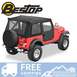 Bestop Replace A Top Door Skins Clear Windows Black Crush For 76 86 Jeep Cj7
