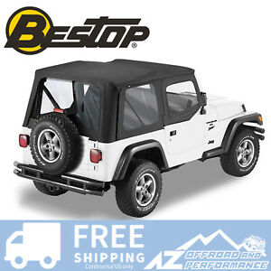 Bestop Sailcloth Replace A Top 88 95 Jeep Wrangler Yj Clear Windows Black Crush