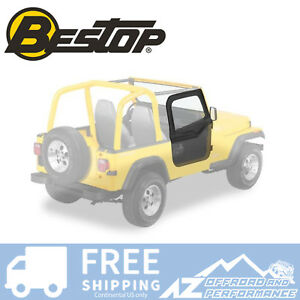 Bestop Soft Fabric Upper Doors For 88 95 Jeep Wrangler Yj Black Denim 51780 15