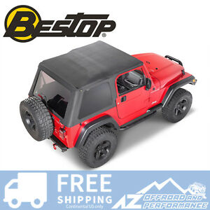 Bestop Trektop Nx Soft Top Black Diamond For 1997 2006 Jeep Wrangler Tj