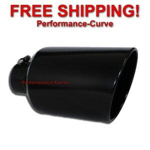 Black Diesel Stainless Steel Bolt On Exhaust Tip 4 Inlet 8 Outlet 15 Long