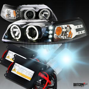 For 1999 2004 Ford Mustang Halo Led Black Projector Headlights H1 6000k Hid Kit