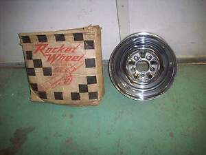 Vintage 1960 S Nos Rocket 13 X 5 1 2 Chrome Reverse Wheel In Original Box
