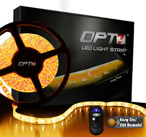 Opt7 16ft Amber Led Light Strips W Remote 300 Smd Bright Yellow Flexible 12v