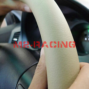 Pvc Leather Steering Wheel Cover With Needles Thread Diy Beige Flat Size M Kf