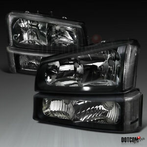 Chevy 2003 2007 Silverado 2003 2006 Avalanche Black Headlights Signal Bumper
