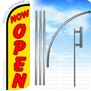 Now Open Windless Swooper Feather Flag Kit Banner Sign Yq