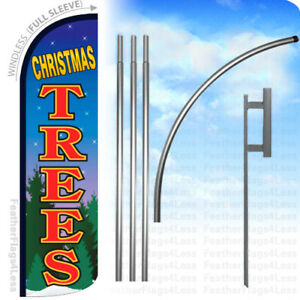 Christmas Trees Windless Swooper Flag 15 Kit Feather Banner Sign Bq