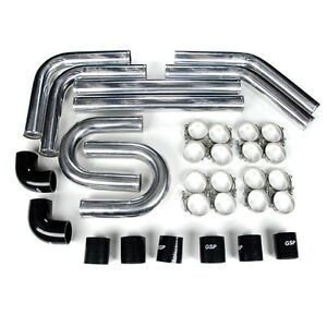 Rev9 2 5 Universal Aluminum Intercooler Turbo Piping Pipe Kit Silicone clamp