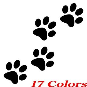 Qty 4 Cat Dog Animal Paw Print Feet Vinyl Car Decal Window Sticker