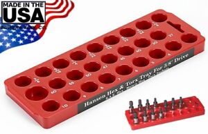 Hansen 3 8 Drive Torx Hex Socket Organizer Tray Rack Holder Metric Sae Usa