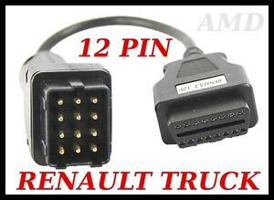 Irisbus Diagnostic Cable 12 Pin Lead Autocom Delphi Renault Bus Obd Test Cable