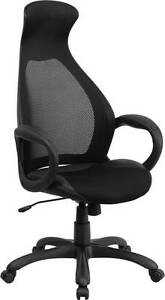 High Back Executive Black Mesh Chair With Leather Inset Seat