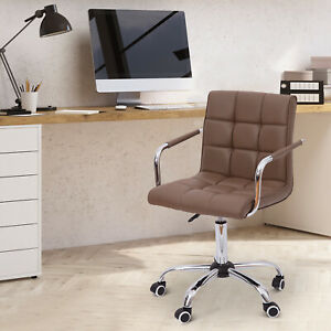 New Homcom Pu Leather Mid back Executive Office Arm Task Chair Swivel Brown