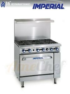 New 36 Gas Commercial Range 6 Open Burners 1 Oven Imperial Ir 6