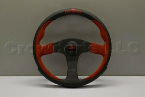 Nardi Personal Pole Position Steering Wheel 330mm Red Suede Black Leather