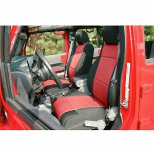 Rugged Ridge 13215 53 Black Red Neoprene Front Seat Covers For Jeep Wrangler