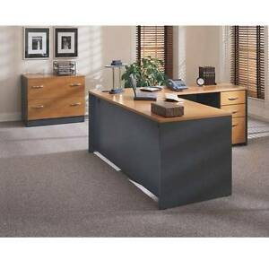Executive L shaped Desk Package Natural Cherry Finish