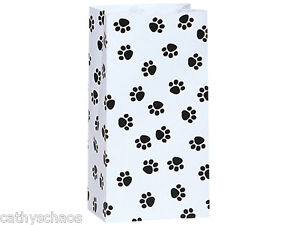 250 Paw Print White Paper Party Favor Cats Dogs Paws Goody Lunch Bags Sacks 4 Lb