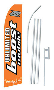 Complete 15 Unlimited Boost Mobile Kit Swooper Feather Banner Sign Flag